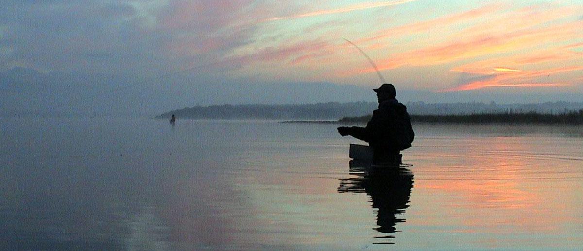 Nordic - Stillleben mit der Fliegenrute im Sonnenuntergang.
