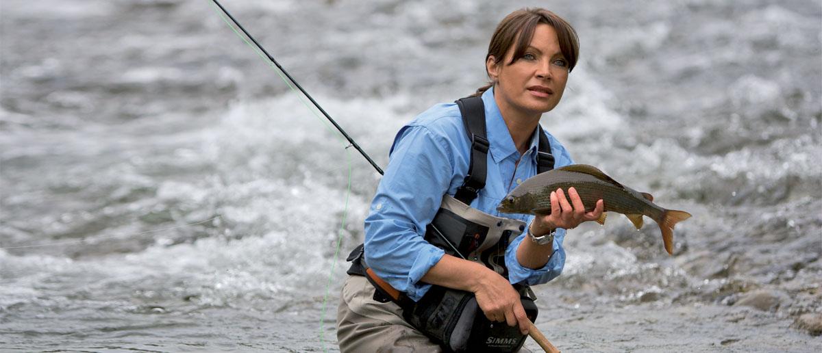 Schöne Äsche, gefangen von Mirjana Pavlic mit einer Winston MP Fliegenrute.