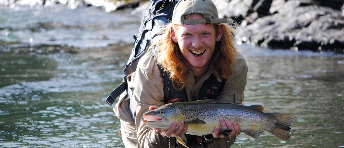 Eine Bachforelle aus Neuseeland - der Traum jedes Fliegenfischers!