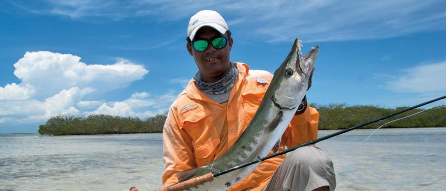 Auch in der Karibik beim Fang eines solchen Barracudas hilft Sonnenschutzkleidung, einen Sonnenbrand zu vermeiden