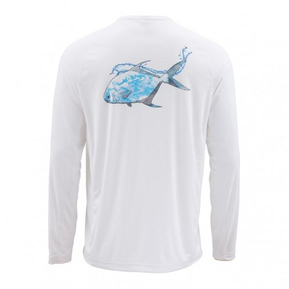 Simms SolarFlex Crewneck Shirt Graphic Cloud Camo Permit mist