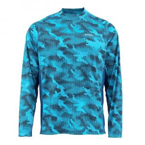 Simms Solarflex Crewneck Shirt hex camo cobalt
