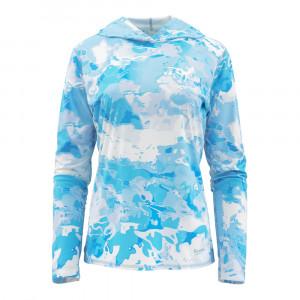 Simms Womens Solarflex Hoody Print cloud camo blue