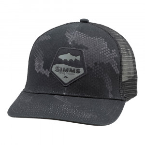 Simms Trout Patch Trucker Cap hex camo carbon