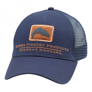 Simms Kappe Trout Icon Trucker Cap ink blue