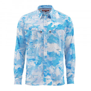 Simms Hemd Intruder Bicomp Shirt cloud camo blue