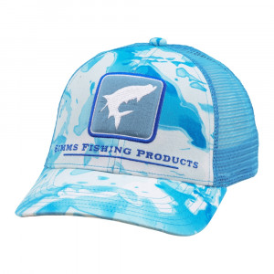 Simms Tarpon Icon Trucker Cap cloud camo blue