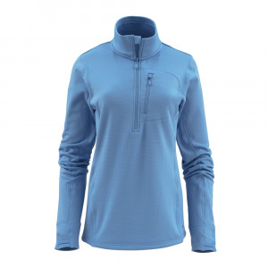 Simms Womens Fleece Midlayer Half Zip Top sky blue