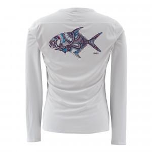 Simms Womens Solarflex LS Crewneck Shirt Larko Permit grey