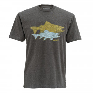 Simms T-Shirt Tightlines Trout/Earth Heather, zum Fliegenfischen bei Flyfishing Europe