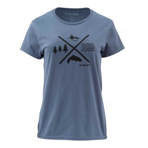 Simms Womens Trout Crossing T-Shirt blue stream