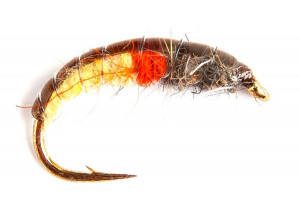 Amber and Orange Super Koecherfliegenlarve Czech Nymph