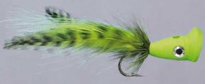 PSP BuHead Chartreuse 6/0, Salzwasserfliege Popper zum Fliegenfischen im Salzwasser bei Flyfishing Europe