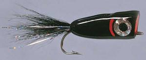 Rainy´s Bubble Head Black Size 4, Salzwasserfliege Popper zum Fliegenfischen im Salzwasser