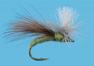 CDC Parachute Caddis Olive Größe 14, Solitude Sedge & Steinfliegen Trockenfliegen zum Fliegenfischen auf Äschen und Forellen bei Flyfishing Europe