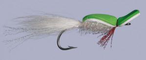 Gurgler chartreuse/weiß Größe 3/0, Salzwasserfliege Gurgler zum Fliegenfischen im Salzwasser bei Flyfishing Europe