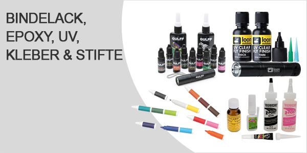 Bindelack, Epoxy, UV Harze und Stifte