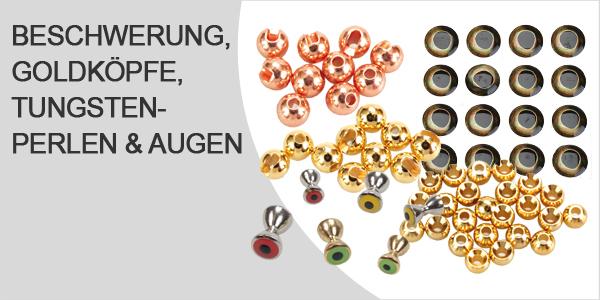 Beschwerung, Goldköpfe, Tungstenperlen und Augen